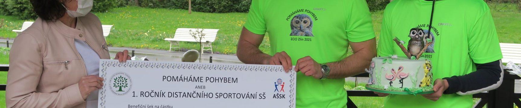 Pomáháme pohybem aneb 1. ročník Distančního sportování středních škol přinesl pro Zoo Zlín sponzorský dar 52 000 Kč
