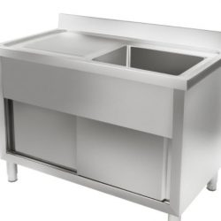 Mycí dřez a pracovní stůl (vybavení školní kuchyně)